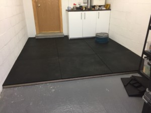 My dedicated lifting space - freshly covered (at the time) in 18mm crumbled rubber!