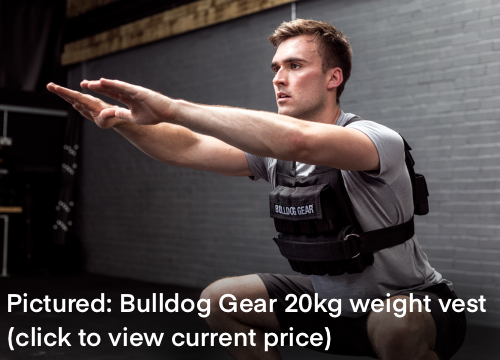Doing bodyweight squats with the Bulldog Gear 20kg weight vest (review to follow soon!)
