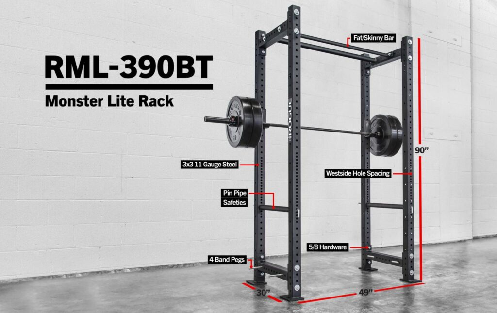 Picture of Rogue RML-390BT Power Rack which has Westside hole spacing